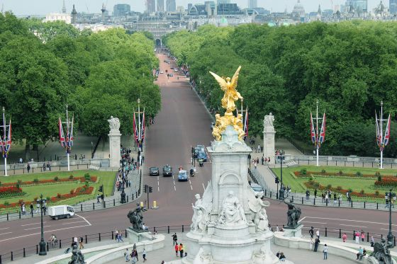View of The Mall and Queen Victoria Memorial from Buckingham Palace