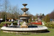 Fountain and flower bed in the Avenue Gardens